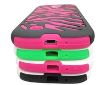 2 in 1 pc+silicone Zebra Stripes Cover Hybird Case For Samsung Galaxy S4 i9500 shockproof Cover Case For Galaxy S4 100pcs/lot