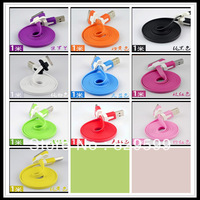 free shipping Noodle Flat USB Sync Data & Charger Cable Colorful noodles Cable 1M For iphone 4 4g 3 3g 1300pcs/lot