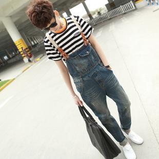 Mens Skinny Jean Overalls Blue Suspenders Multi-pocket Bib Pants Holes Denim Trousers