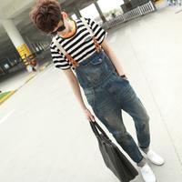 Free Shipping 2014 New Mens Skinny Jean Overalls Blue Suspenders Multi-pocket Bib Pants Holes Denim Trousers