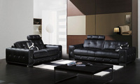 Classic 1 2 3  Black Leather sofa set Top grain leather and solid wood frame, streched headrest living room set  A021