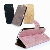 New Arrival Luxury leather flip pouch wallet case cover stand with card holder for Galaxy S3 I9300 i9308