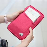 Multifunctional travel canvas storage bag passport bag documents bag long design card holder wallet