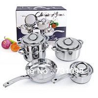 All-Clad Stainless Steel 8-Piece Cookware Professional Chef Kitchen Cook Set
