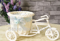 free shipping,3Pcs Artificial canework tricycle flower vase floral flower basket Decor