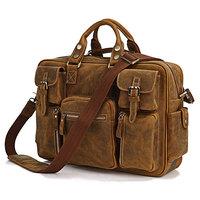 Rare Crazy Horse Leather Men's Briefcase Laptop Bag shouderbag handbag travellin
