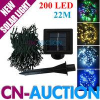 FS! 22M 200 LED Solar Light String Fairy Lights Outdoor Lamp Waterproof Christmas Lights Party Garden Light 10PCS/Lot (CN-LSL41