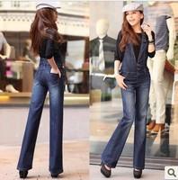 Free Shipping Women's Plus Size Denim Overalls Halter Jeans Loose Piece Pants Jumpsuit-G327