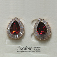 E090 Rose Gold Plated Sparking Ruby CZ stones Stud Earrings  FREE SHIPPING