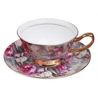 Fashion bone china coffee cup set quality coffee cup bone china 1 cup 1 disgusts spoon flower tea cup glass