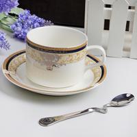 Fashion bone china coffee cup and saucer mug set coffee cup casual cqua spoon