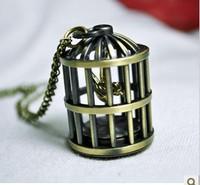 FG-260 Free Shopping Pocket watch wholesale antique fashion High Quality  cartoon  alloy  birdcage  pocket watch