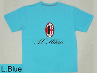 Mix Order Free Shipping Print Milan Team Soccer Logo Custom t Shirt 100% Contton Men Short Sleeve O-NecK DIY Blue Shirt T-718214
