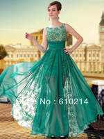 Gorgeous Prom Dress 2013 Green Lace Sleeveless A-line Chiffon Pageant Evening Formal Gown Lady Party Occasion Dress