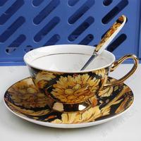 Fashion vintage coffee cup tea cup set buck black tea cup and saucer set coffee spoon