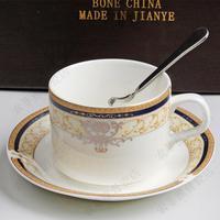 Bone china coffee cup and saucer romantic mug set coffee cup casual cqua spoon