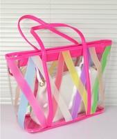 2013 fashion color transparent bags female brief jelly bags one shoulder bag women's handbag beach