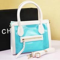2013 women's handbag personalized neon color candy bag jelly bag transparent smiley bag summer casual beach bag