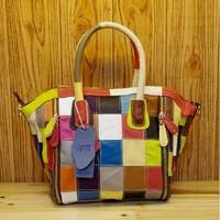 Fashion personality 2013 colorant match bag cowhide genuine leather plaid square grid one shoulder cross-body women's handbag