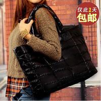 2012 autumn and winter fashion women's handbag down bags one shoulder bag sponge bag plaid space bag cotton-padded jacket bag