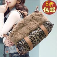 2012 autumn and winter leopard print rabbit fur innumeracy bag women's handbag bag messenger bag