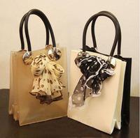 2013 double small bag translucent candy jelly bag women's handbag silk scarf bag