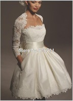 Chic Strapless Satin Mini Short Wedding Dresses with Long Sleeves Lace Jacket