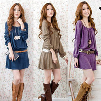 2013 New Fashion Korean Womens Sweet Crew Neck Long Sleeve Casual Spring Autumn Party Mini Dress With Belt
