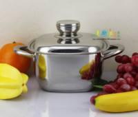 Fashion square pot ears 18cm stainless steel soup pot eco-friendly compound sole
