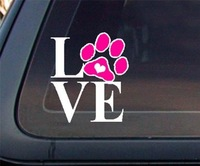 5pcs Love Dog Cat Paw Print with Heart Car Decal / Sticker