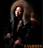 Women Fur Hooded 100% Down Puffer Coat Slim Long Parka Glossy Winter Thick Jacket