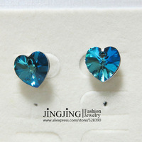 E104 'OCEAN HEART' White Gold Plated Austrian Ocean Blue Heart Crystal Stud Earring FREE SHIPPING