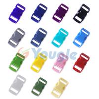 """100 pcs 3/8"""" Contoured Curved Side Release Plastic Buckle for Paracord Bracelet Bag Backpack"""