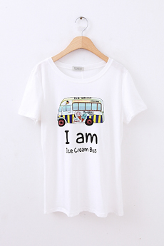 Wind simple bus pattern tee white cotton round neck short-sleeve T-shirt casual formal