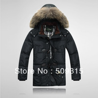 2013 men's clothing detachable cap medium-long large fur collar down coat men's winter jacket warm coat men's coat free shipping