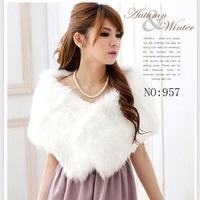 free shipping The bride wedding wrap white wool faux fur shawl cape bridesmaid cheongsam formal dress cape waistcoat
