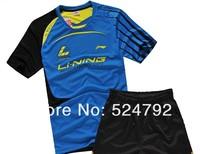 Wholesale,free shipping New 2012 Li Ning Men Badminton sweat Polo Shirt+short Colour: Blue/yellow
