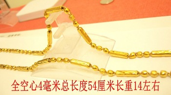 Christmas gift Pure gold Gold necklace male 24k gold solid hollow necklace marry gold chain 999 fine gold about 54cm 14g