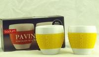 Bodum 2-1/2-Ounce Pavina Porcelain Cups with Silicone Grip, Set of 2,Ceramic couple elegant coffee mugs cup /mug, Free shipping