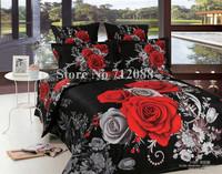3D oil painting bed linen 4pcs romantic red rose flower black full/queen bedding sets duvet comforter covers cotton