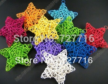 Free shipping,Christmas tree top ornament Rattan five-pointed star (10cm) Mix color 20pcs/lot