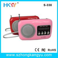 Portable pocket fm radio,small mini mp3 fm radio built-in speaker/ DC 5V rechargable battery