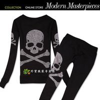 The trend of the trend of fashion personality rhinestones mmj skull casual o-neck set long-sleeve skinny pants set female