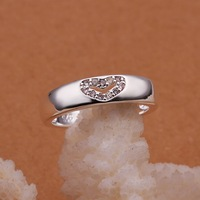 Free Shipping!! Hot  Wholesale Brand New Fashion 925 Sterling Silver HEART Ring CR46 Size 8