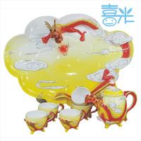 Red golden dragon bone china tea set ceramic kung fu tea teaberries set porcelain enamel tea set tea set