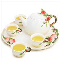 Jingdezhen tea set ceramic set kung fu teapot red tea tray japanese style flower tea cup