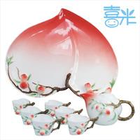 8 heart cup peach tea set porcelain enamel tea set ceramic kung fu tea teaberries