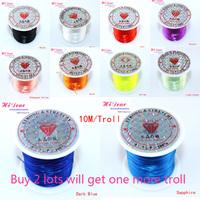 Wholesale Dia 0.5mm*10m/11yds 12Trolls/Lot Mix Colour Jewelry Beading Elastic Cords/String Rope For Bracelet/ESMC