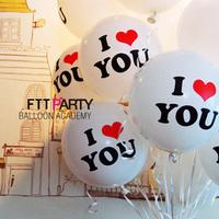 Free Shipping Neo 12 love you white red wedding print balloon