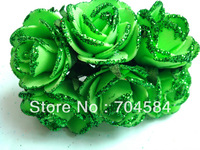 Free shipping Shinning Gliter Edge 3cm Foam Flowers Wedding candy Box decoration flowers 144pcs/lot